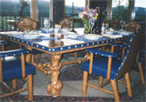 Burl Dining Table & Keyhole Chairs