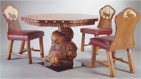 Burl Game Table & Chairs
